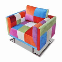 vidaXL atpūtas krēsls ar hroma kājām, tekstilmozaīkas apdare