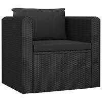 vidaXL dīvāns ar matračiem, melns PE pinums
