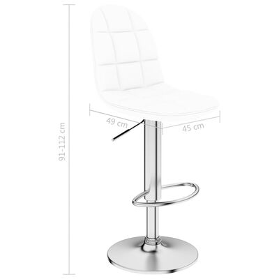 vidaXL bāra krēsli, 2 gab., balta mākslīgā āda