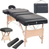 vidaXL masāžas galds un taburete, 3 daļas, saliekami, 10 cm, melni