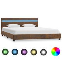 vidaXL gultas rāmis ar LED, brūns audums, 120x200 cm