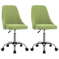 vidaXL grozāmi biroja krēsli, 2 gab., zaļš audums