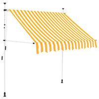 vidaXL izvelkama markīze, 200 cm, manuāla, oranža ar baltām svītrām