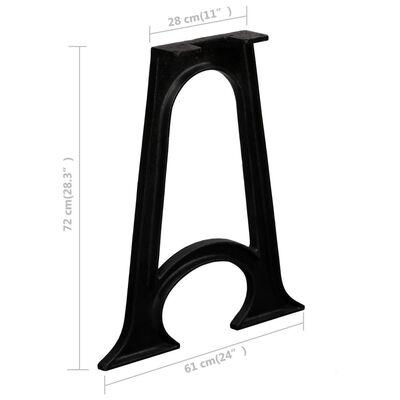 vidaXL virtuves galda kājas, 2 gab., ar izliektu pamatni, čuguns