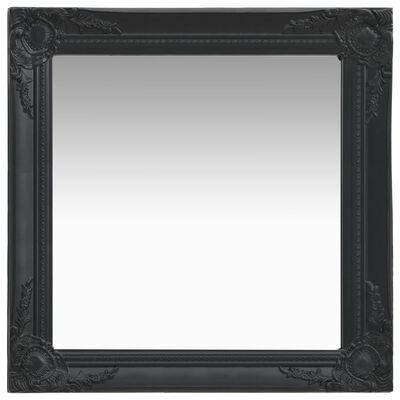 vidaXL baroka stila sienas spogulis, 60x60 cm, melns