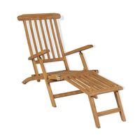 vidaXL pludmales krēsls ar kāju balstu, masīvs tīkkoks