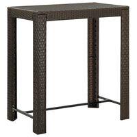 vidaXL dārza bāra galds, brūns, 100x60,5x110,5 cm, PE rotangpalma