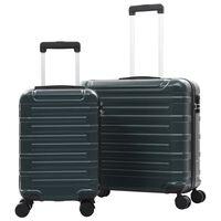 vidaXL cieto koferu komplekts, 2 gab., ABS, zaļš