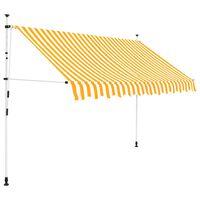 vidaXL izvelkama markīze, 250 cm, manuāla, oranža ar baltām svītrām