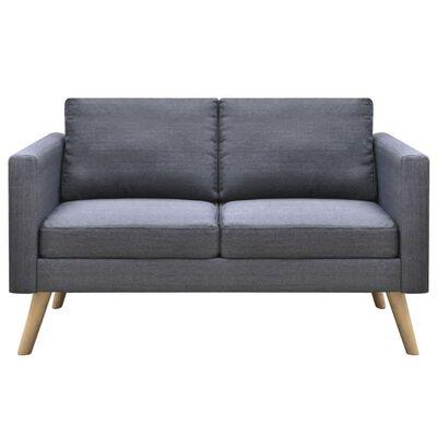 vidaXL dīvāns, divvietīgs, tumši pelēks audums