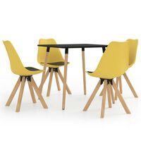 vidaXL 5 Piece Dining Set Black and Yellow (287239+324246)