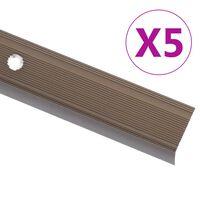 vidaXL kāpņu profili, 5 gab., L forma, 134 cm, brūns alumīnijs