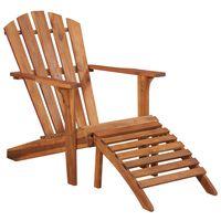 vidaXL dārza krēsls ar kāju balstu, akācijas masīvkoks