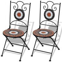 vidaXL saliekami bistro krēsli, 2 gab., keramika, sarkanbrūni un balti