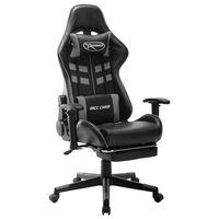vidaXL datorspēļu krēsls ar kāju balstu, melna un pelēka mākslīgā āda