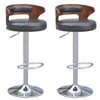 vidaXL bāra krēsli, 2 gab., liektas koksnes rāmis, melna mākslīgā āda