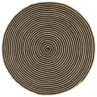 vidaXL paklājs, spirāles dizains, džuta, melns, 120 cm, roku darbs