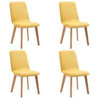 vidaXL virtuves krēsli, 4 gab., dzeltens audums, masīvs ozolkoks