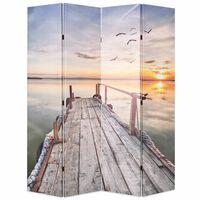 vidaXL istabas aizslietnis, 160x170 cm, saliekams, ezera ainava