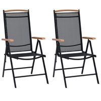 vidaXL saliekami dārza krēsli, 2 gab., alumīnijs un tekstilēns, melni