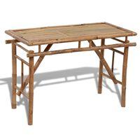 vidaXL saliekams dārza galds, 120x50x77 cm, bambuss