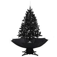 vidaXL mākslīgā Ziemassvētku egle ar pamatni, melna, 140 cm, PVC