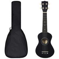 "vidaXL soprāna bērnu ukulele ar somu, melna, 21"""