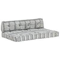 vidaXL palešu dīvānu spilvens, pelēks audums, tekstilmozaīka