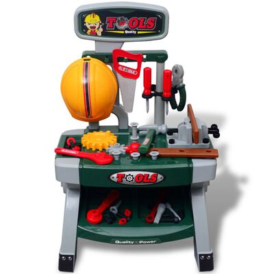 Bērnu rotaļu darba galds ar instrumentiem, zaļa + pelēka krāsa