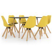 vidaXL 7-daļīgs virtuves mēbeļu komplekts, dzeltens un melns