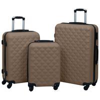 vidaXL cieto koferu komplekts, 3 gab., ABS, brūni