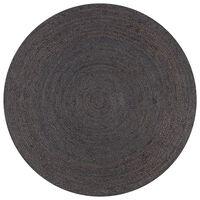 vidaXL paklājs, 120 cm, roku darbs, apaļš, džuta, tumši pelēks