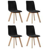 vidaXL virtuves krēsli, 4 gab., melns audums