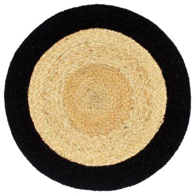 vidaXL galda paliktņi, 6 gab., melna, dabīga krāsa, 38 cm, kokvilna
