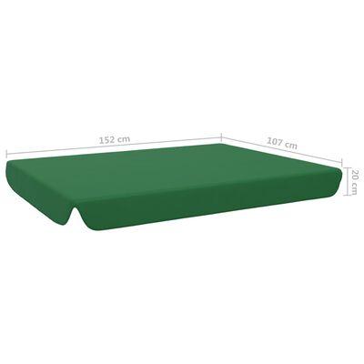 vidaXL dārza šūpoļu rezerves jumtiņš, zaļš, 192x147 cm