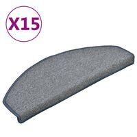 vidaXL kāpņu paklāji, 15 gab., 65x24x4 cm, gaiši pelēki ar zilu