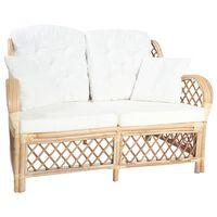 vidaXL divvietīgs dīvāns, rotangpalma