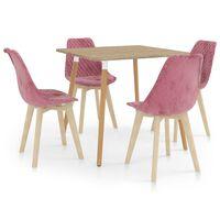 vidaXL 5-daļīgs virtuves mēbeļu komplekts, rozā