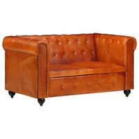 vidaXL divvietīgs Chesterfield dīvāns, dzeltenbrūna dabīgā āda