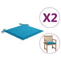 vidaXL dārza krēslu spilveni, 2 gab., zili, 50x50x4 cm