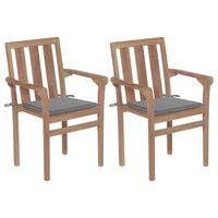 vidaXL dārza krēsli, 2 gab., pelēki matrači, masīvs tīkkoks