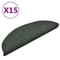 vidaXL kāpņu paklāji, 15 gab., pašlīmējoši, 56x17x3 cm, zaļi