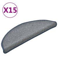 vidaXL kāpņu paklāji, 15 gab., 56x17x3 cm, gaiši pelēki ar zilu