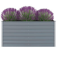 vidaXL Raised Garden Bed 160x80x77 cm Galvanised Steel Grey