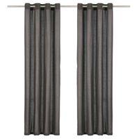 vidaXL aizkari ar metāla riņķiem, 2 gab., 140x175 cm, antracītpelēki