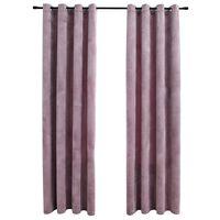 vidaXL biezie aizkari ar riņķiem, 2 gab., rozā samts, 140x225 cm