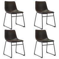vidaXL virtuves krēsli, 4 gab., tumši brūna mākslīgā āda
