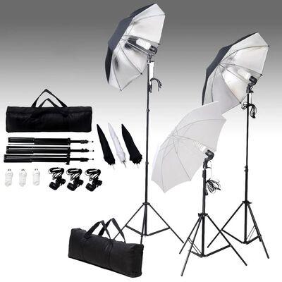 vidaXL fotostudijas apgaismojums, 24 vati, trijkāji un lietussargi