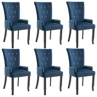 vidaXL virtuves krēsli ar roku balstiem, 6 gab., tumši zils samts