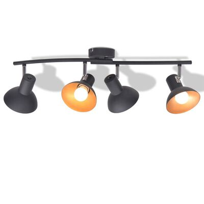 vidaXL griestu lampa, 4 spuldzes, E27, melna ar zelta krāsu